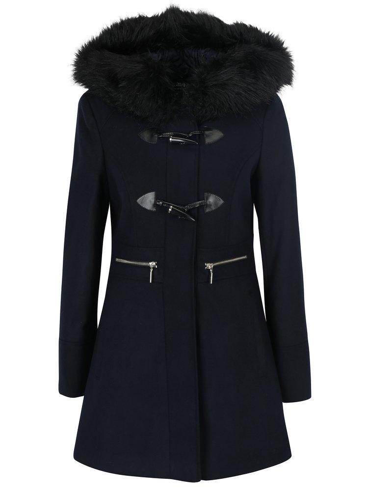 Palton albastru inchis cu gluga Miss Selfridge