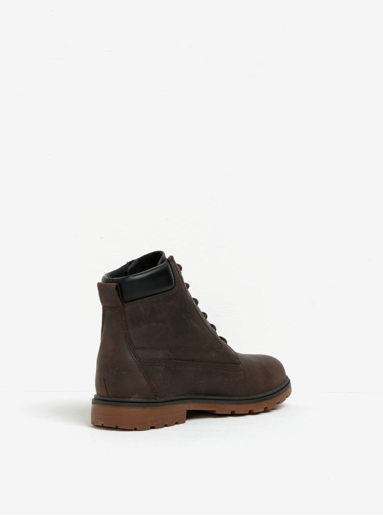 Tmavě hnědé pánské kožené kotníkové boty Geox Akim