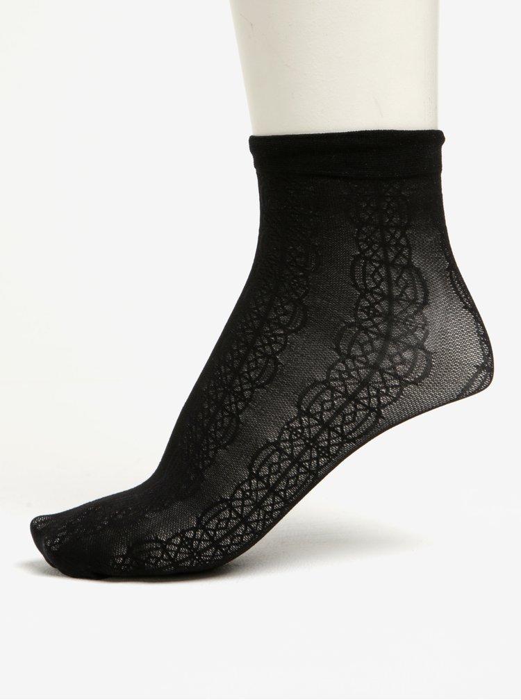 Černé průsvitné krajkované ponožky Pieces Crille