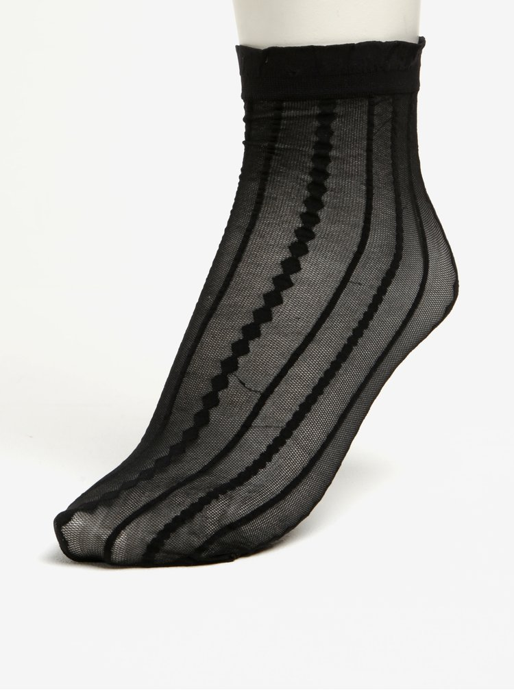 Șosete negre scurte cu dungi Pieces Crille