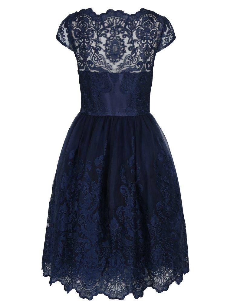 Tmavě modré krajkové šaty Chi Chi London April