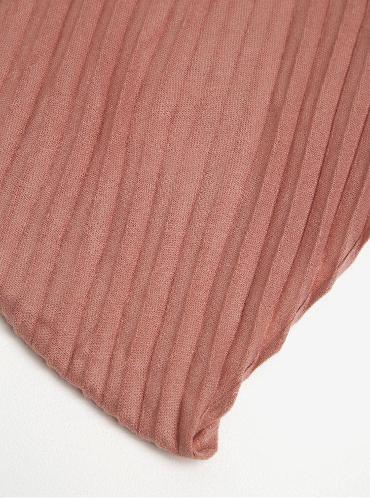 Esarfa roz prafuit cu model plisat Pieces Creem