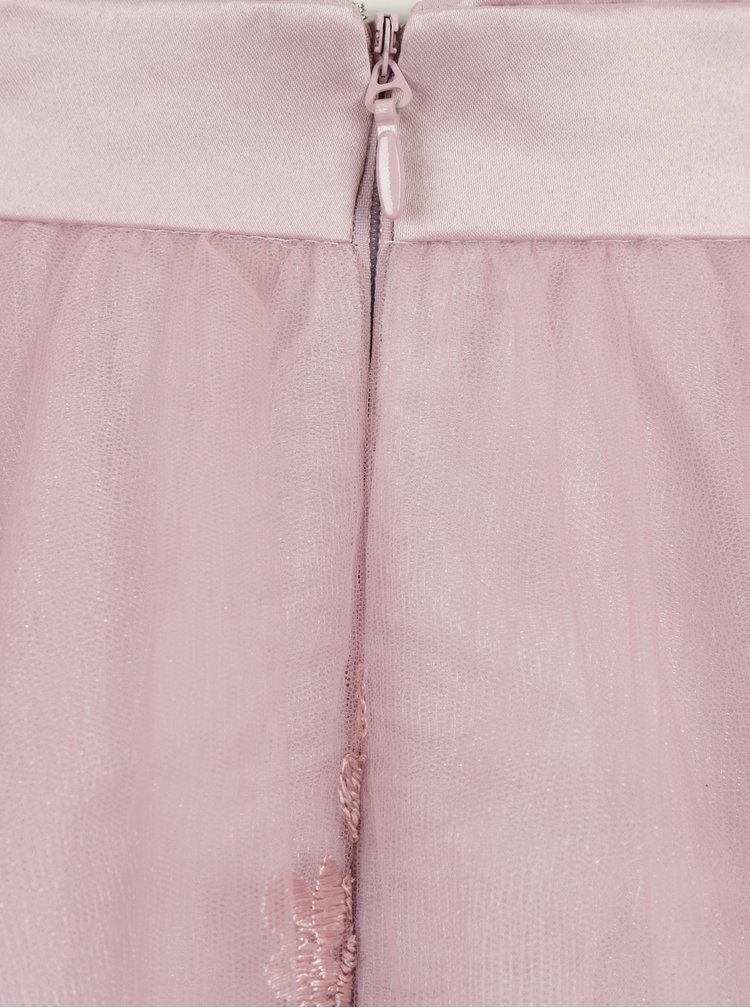 Rochie roz prafuit din tul cu broderie Chi Chi London Elise