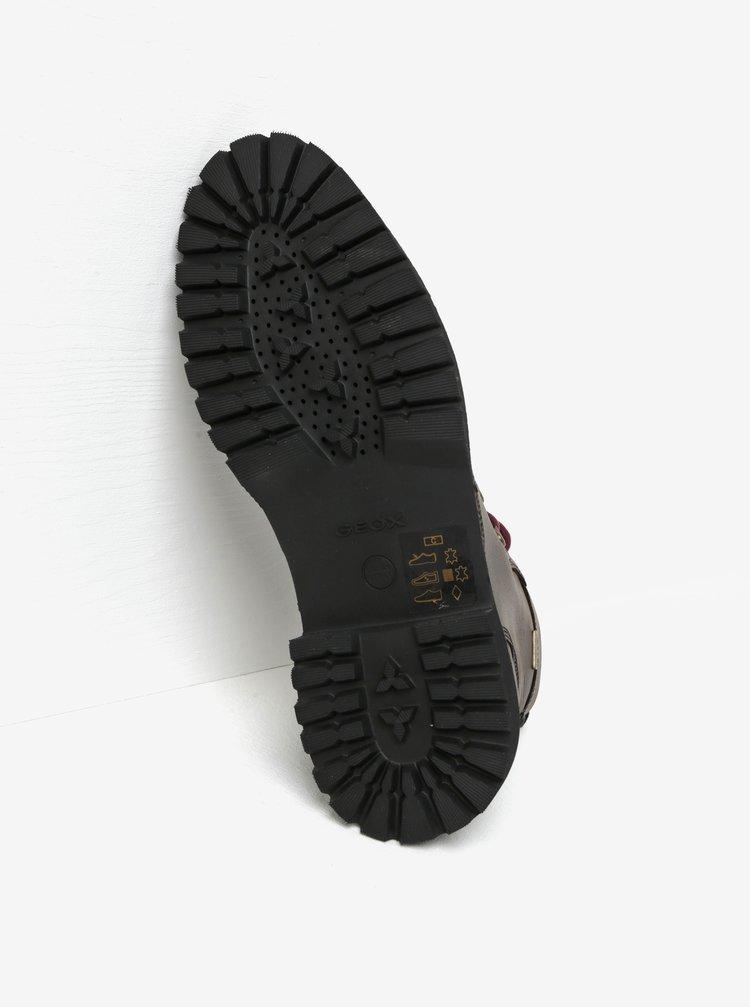 Tmavě hnědé pánské kotníkové kožené voděodpudivé boty Geox Kieven ABX