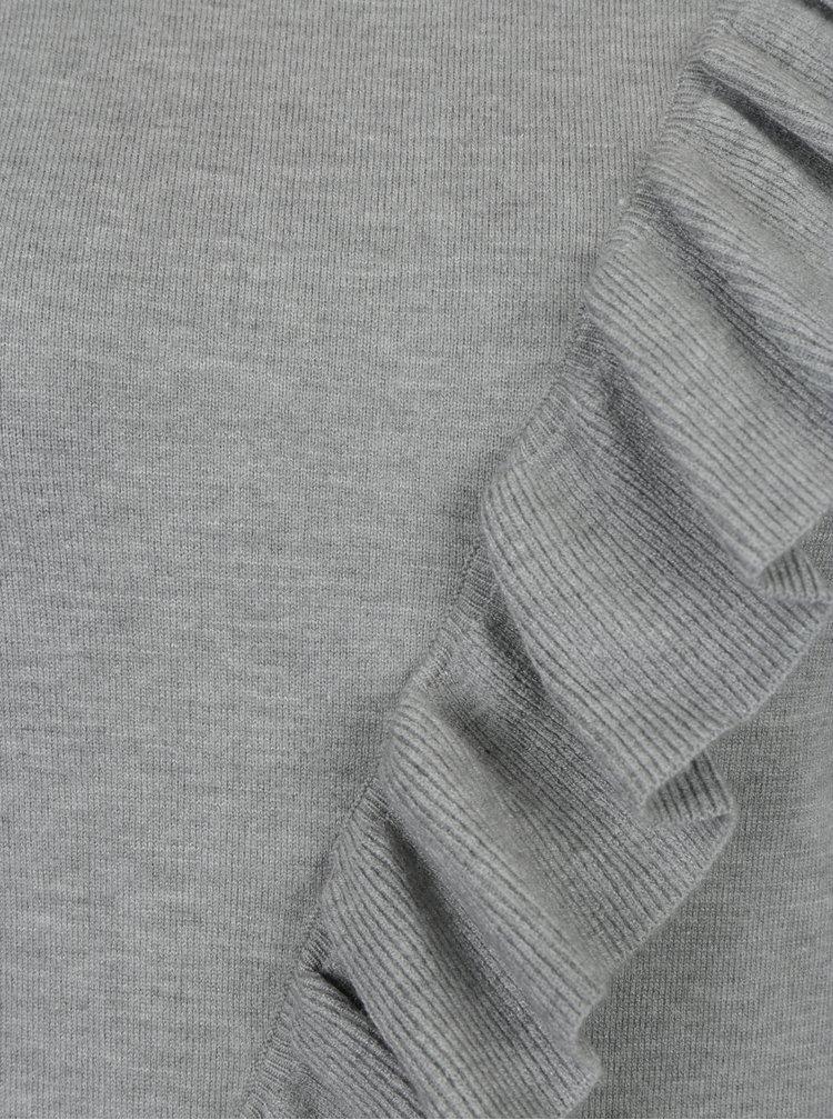 Šedý svetr s volánem Miss Selfridge