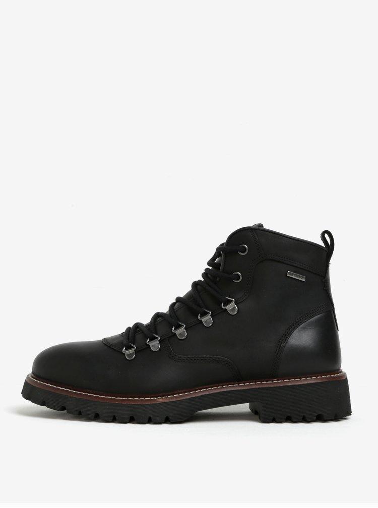Černé pánské kotníkové kožené voděodpudivé boty Geox Kieven ABX