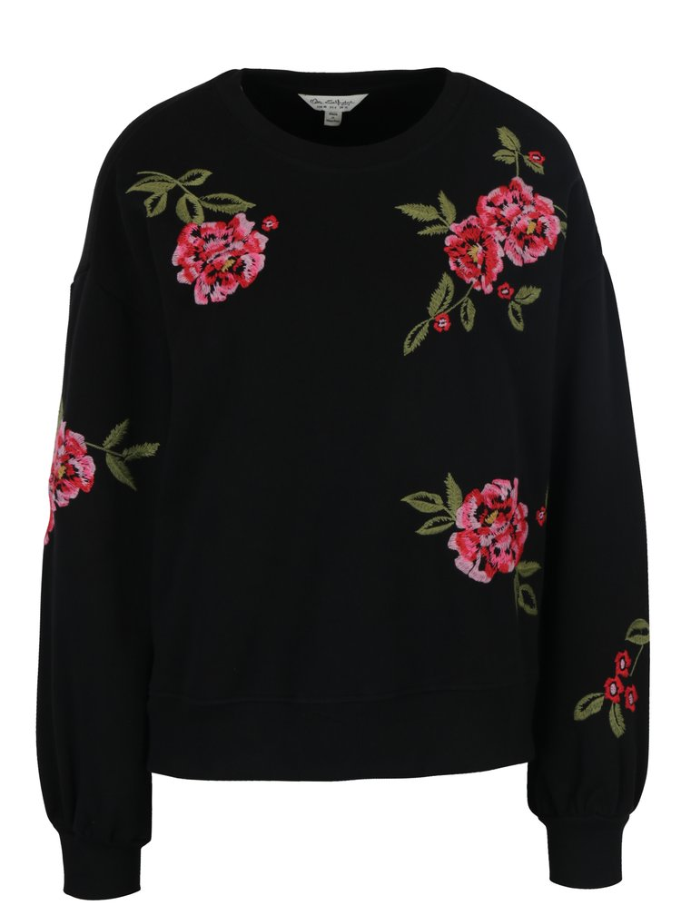 Pulover negru cu broderie florala Miss Selfridge