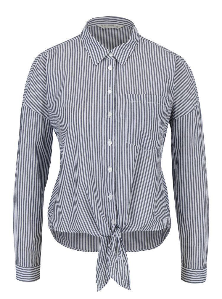 Krémovo-šedá  pruhovaná košile s mašlí Miss Selfridge