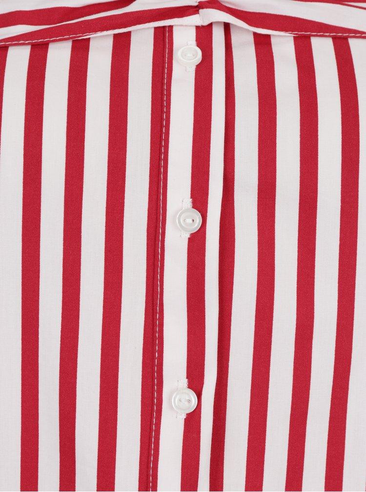 Bluza crem&rosu in dungi cu umeri expusi Miss Selfridge