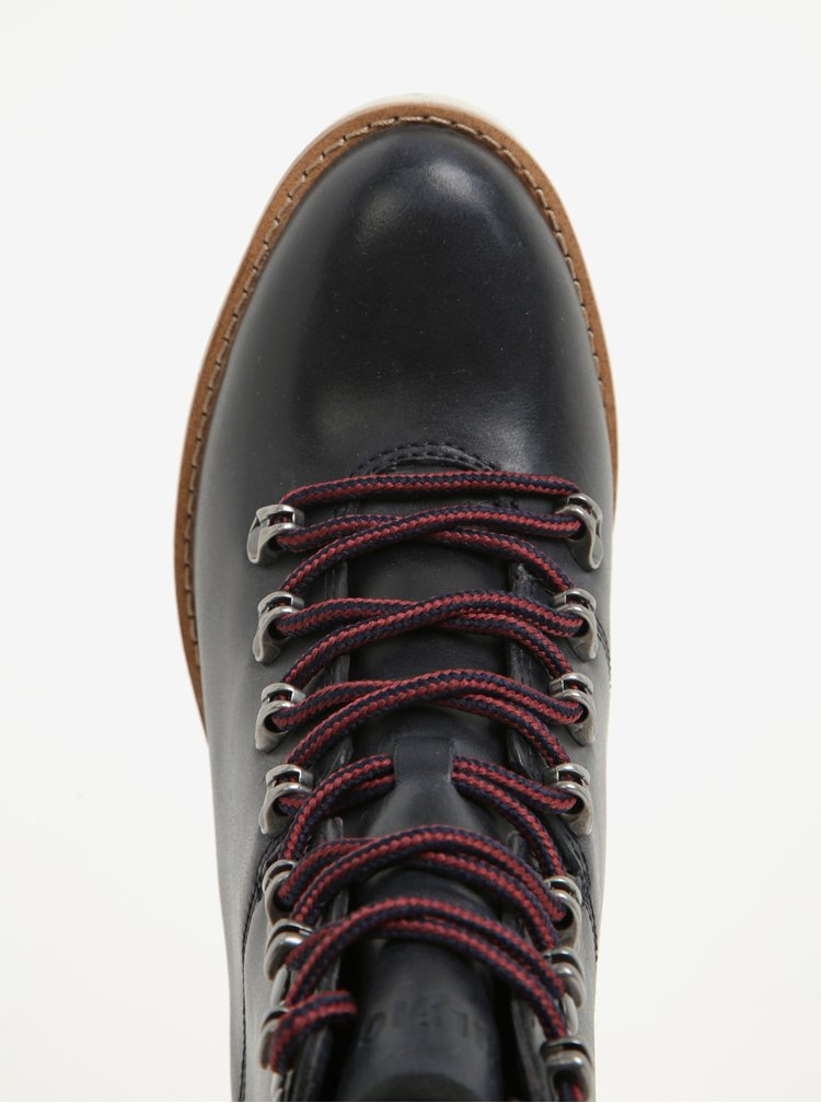 Černé dámské kožené kotníkové boty na vysokém podpatku Tommy Hilfiger Paola