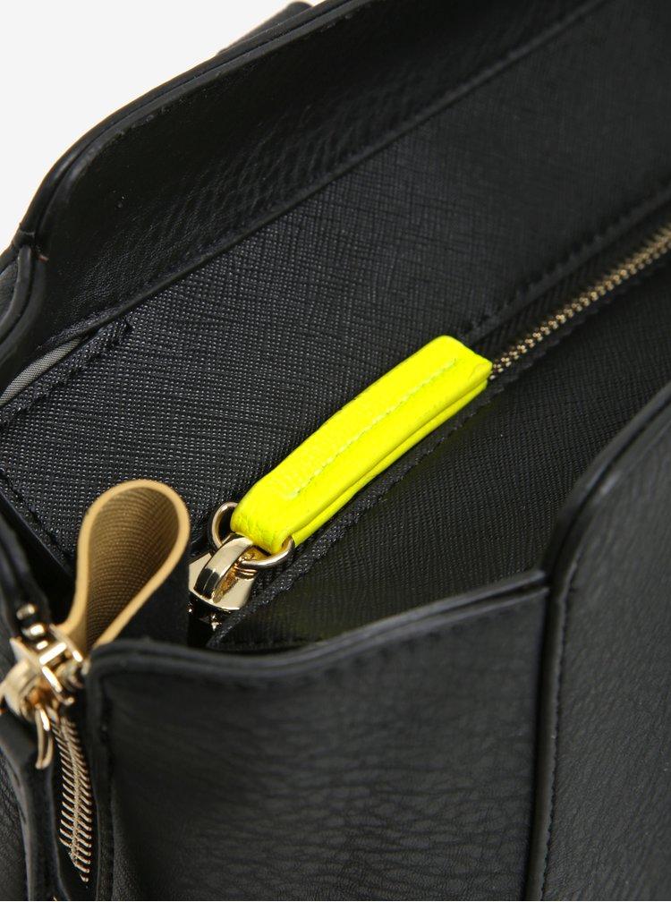 Geanta neagra cu detalii galben neon Paul's  Boutique Pamela