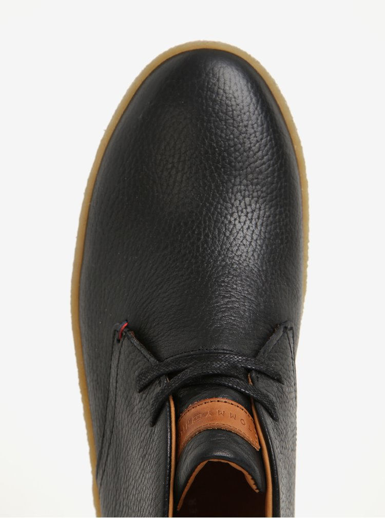 Černé pánské kožené kotníkové boty Tommy Hilfiger Logan