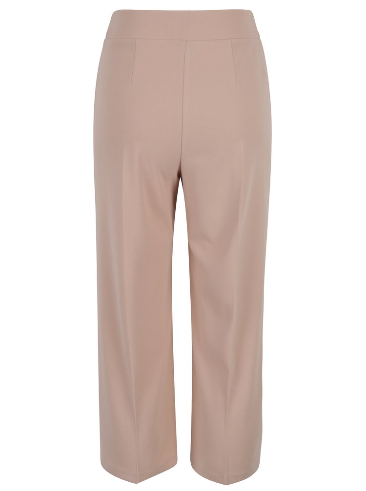 Pantaloni culottes roz prafuit cu cordon in talie Miss Selfridge