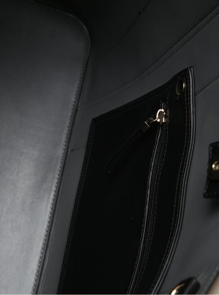 Hnědo-černý pruhovaný shopper s crossbody kabelkou 2v1 Nalí