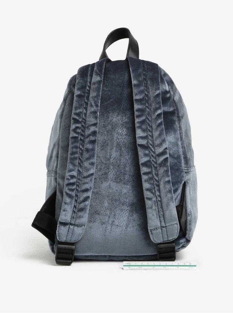 Modrý sametový batoh se zipem ve zlaté barvě Nalí