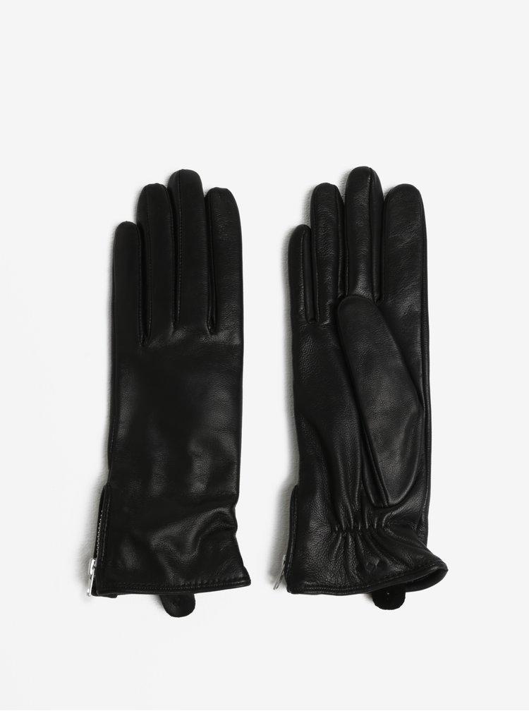 Černé dámské kožené rukavice s kašmírovou podšívkou Royal RepubliQ