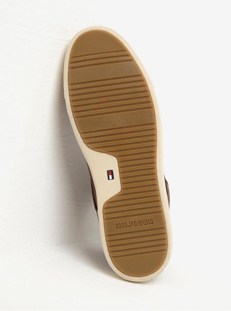 Hnědé pánské kožené kotníkové tenisky Tommy Hilfiger Moon