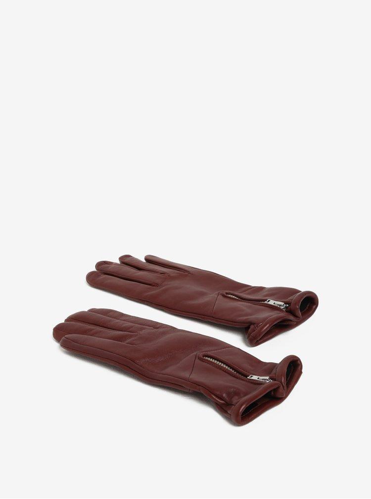 Manusi maro din piele cu captuseala de casmir si fermoar pentru femei Royal RepubliQ