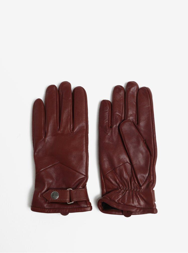 Hnědé pánské kožené rukavice s kašmírovou podšívkou Royal RepubliQ