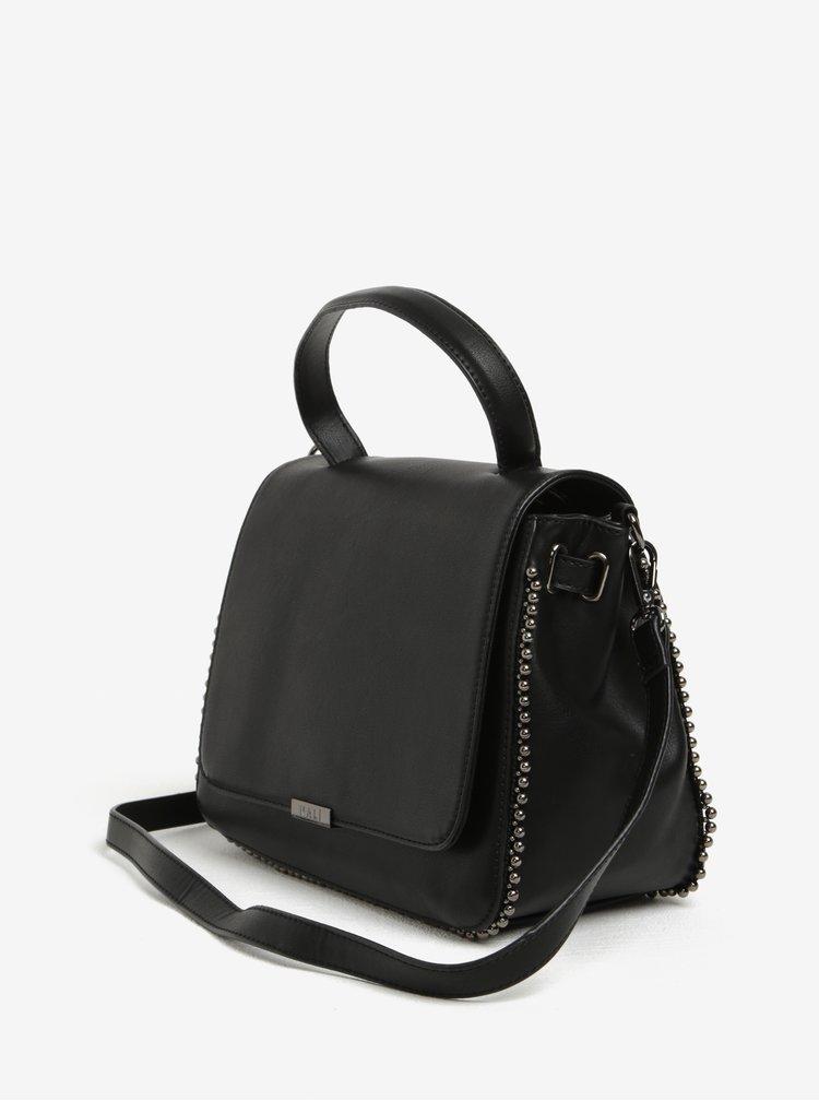 Černá kabelka do ruky s ozdobnou kovovou aplikací Nalí