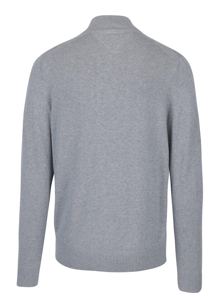 Šedý pánský žíhaný svetr s příměsí kašmíru Tommy Hilfiger Pima