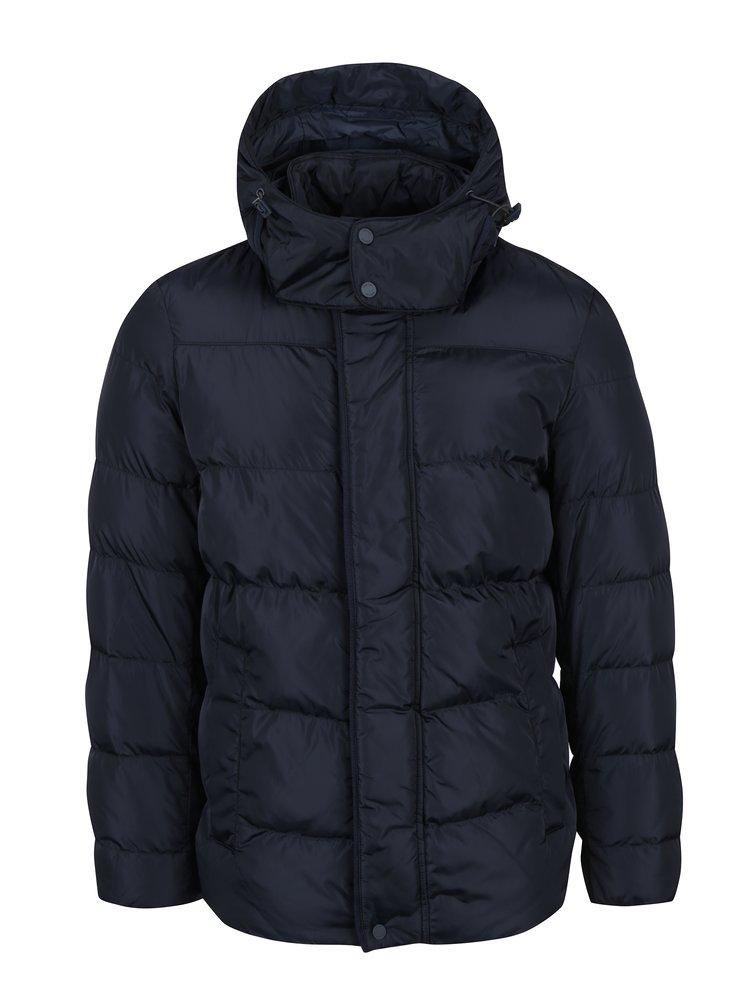 Tmavě modrá pánská prošívaná bunda s kapucí Geox