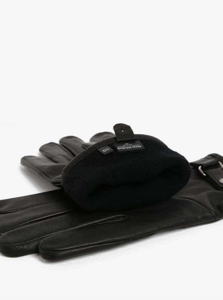 Manusi negre din piele cu captuseala de casmir pentru barbati Royal RepubliQ