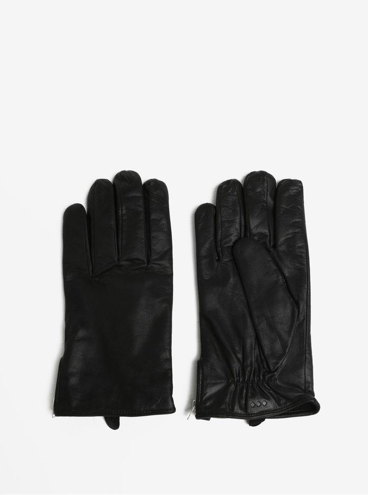 Černé pánské kožené rukavice se zipem a kašmírovou podšívkou Royal RepubliQ