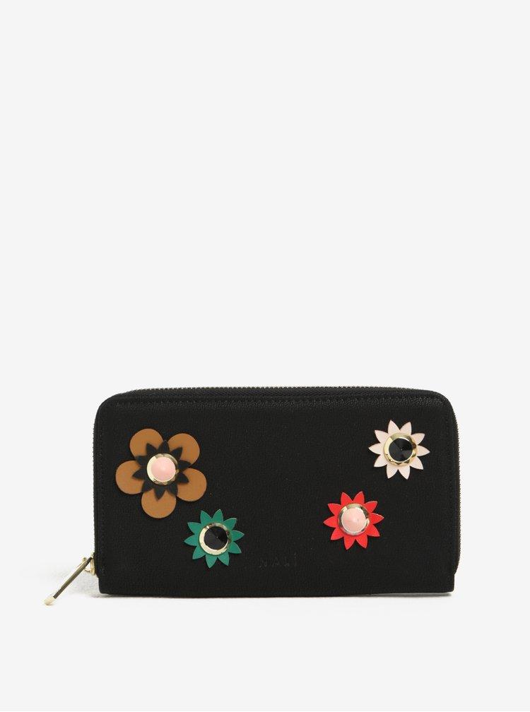 Portofel negru cu aplicatii florale Nali