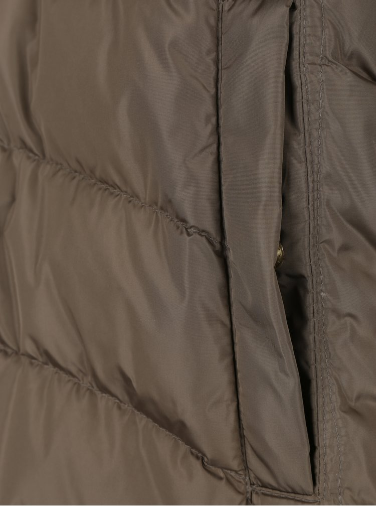 Béžový dámský prošívaný péřový kabát Geox