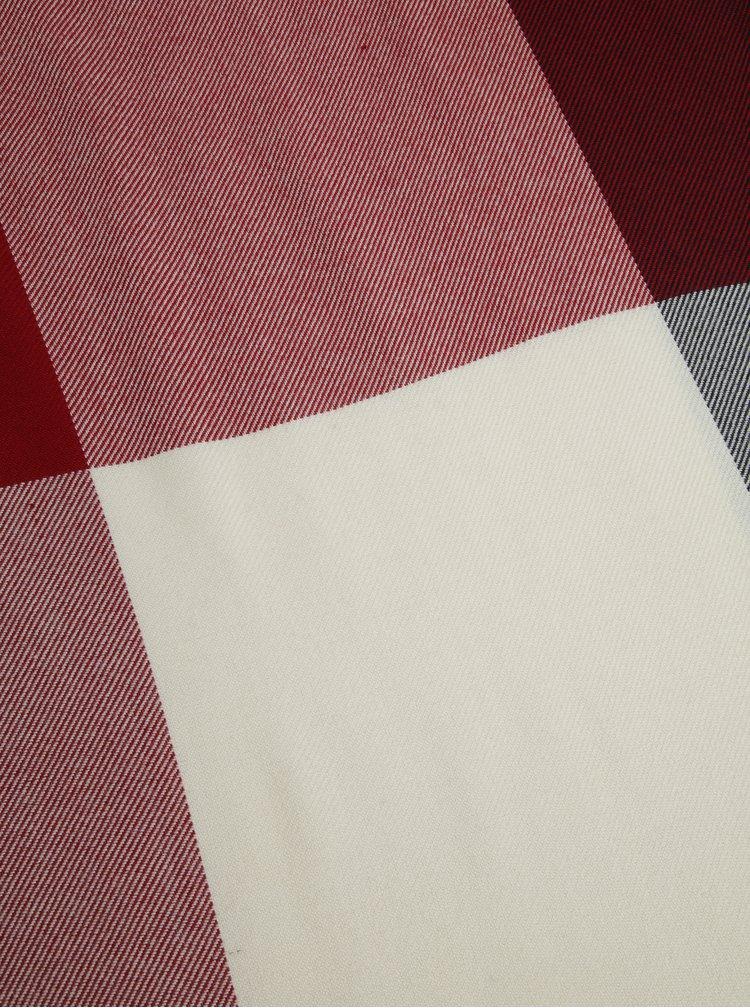 Červeno-šedý dámský vzorovaný šátek Tommy Hilfiger Blanket