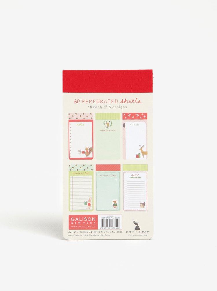 Poznámkový blok v mentolové barvě s vánočním motivem Galison