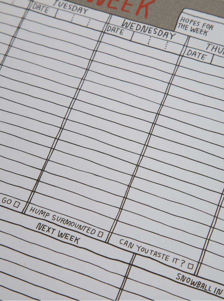 Bílo-šedý pětidenní plánovací blok jako podložka pod myš Knock Knock