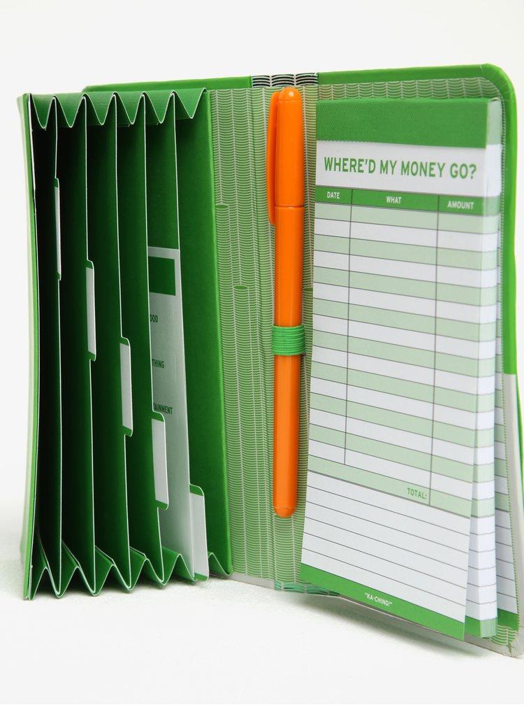 Bílo-zelený zápisník na výdaje Knock Knock