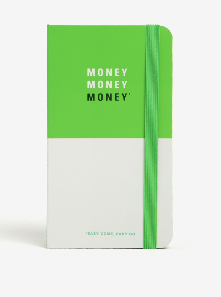 Agendă alb&verde pentru plan financiar Knock Knock