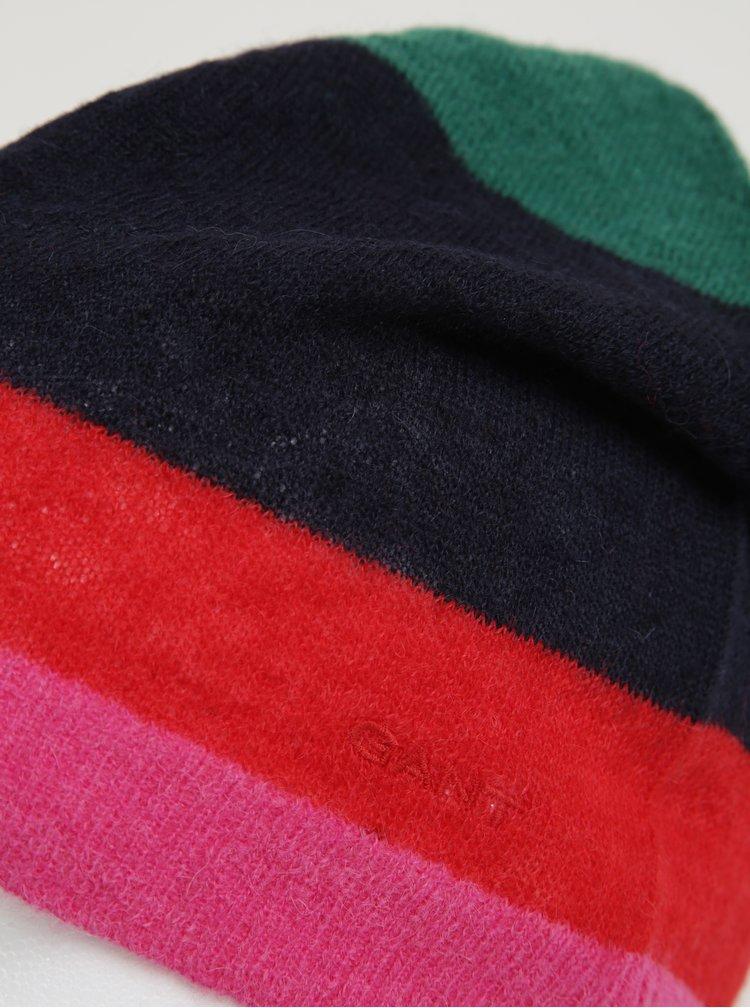 Červeno-modrá dámská vlněná pruhovaná čepice GANT