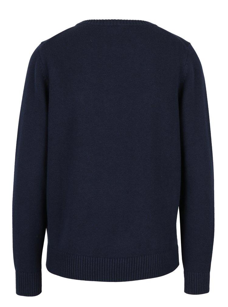 Tmavě modrý dámský svetr s výšivkou a příměsí vlny GANT