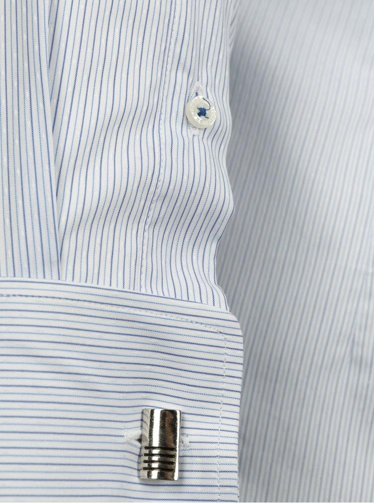 Cămașă albă slim fit cu dungi bleumarin  Braiconf Iacob