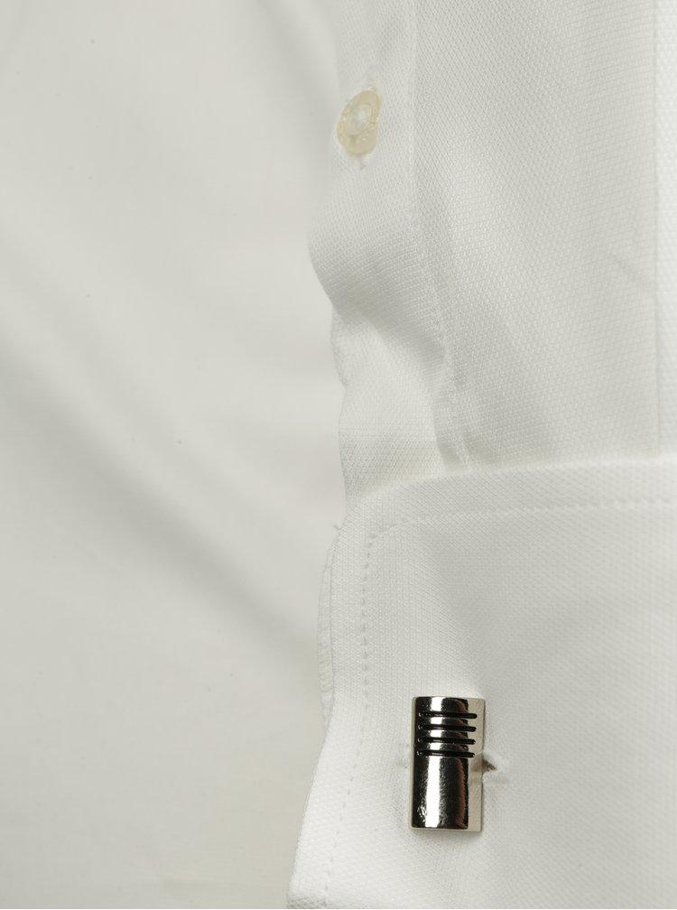 Cămașă albă slim fit cu model discret Braiconf Iacob