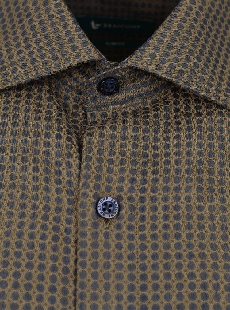 Hnědá vzorovaná formální slim fit košile Braiconf Maxmilian