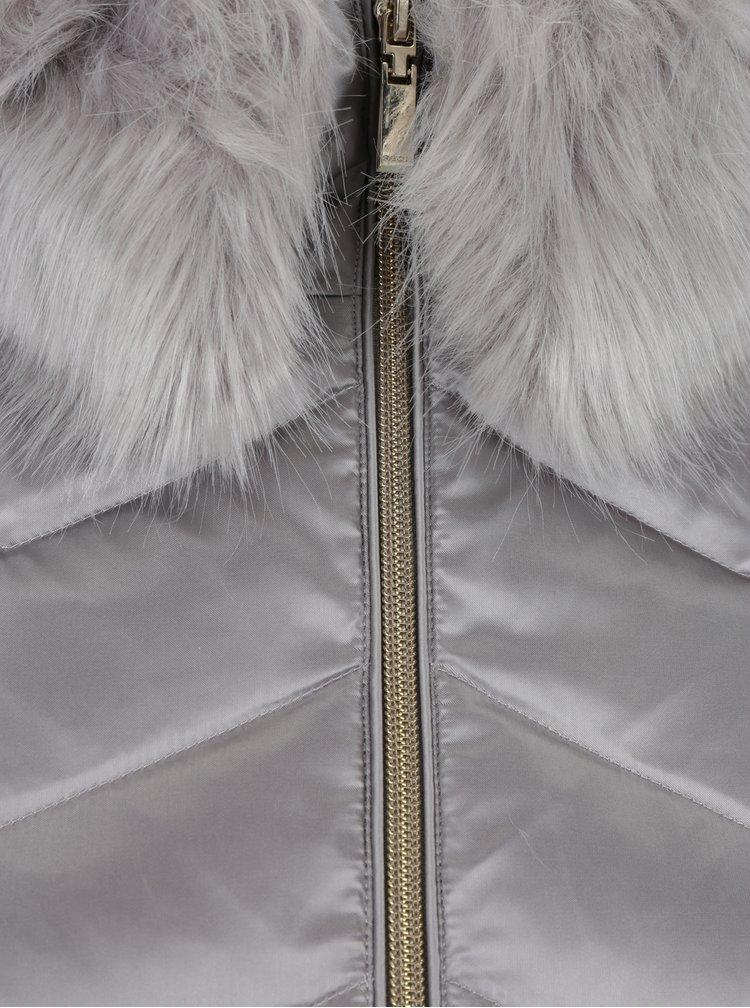 Geaca matlasata argintie cu guler de blana pentru femei Geox