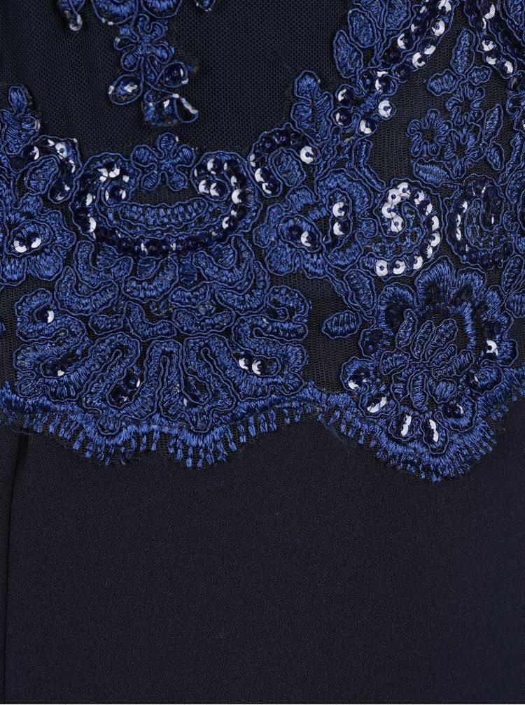 Tmavě modré dlouhé asymetrické šaty s výšivkou AX Paris