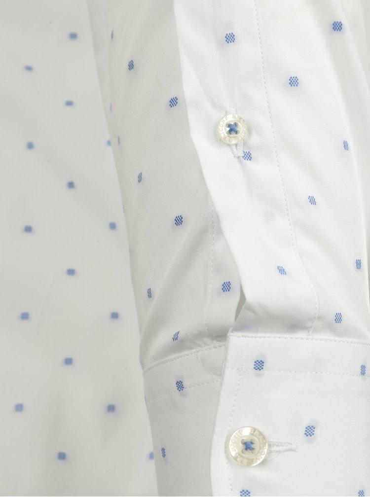 Camasa slim fit alb&albastru cu buline  Braiconf Nicoara