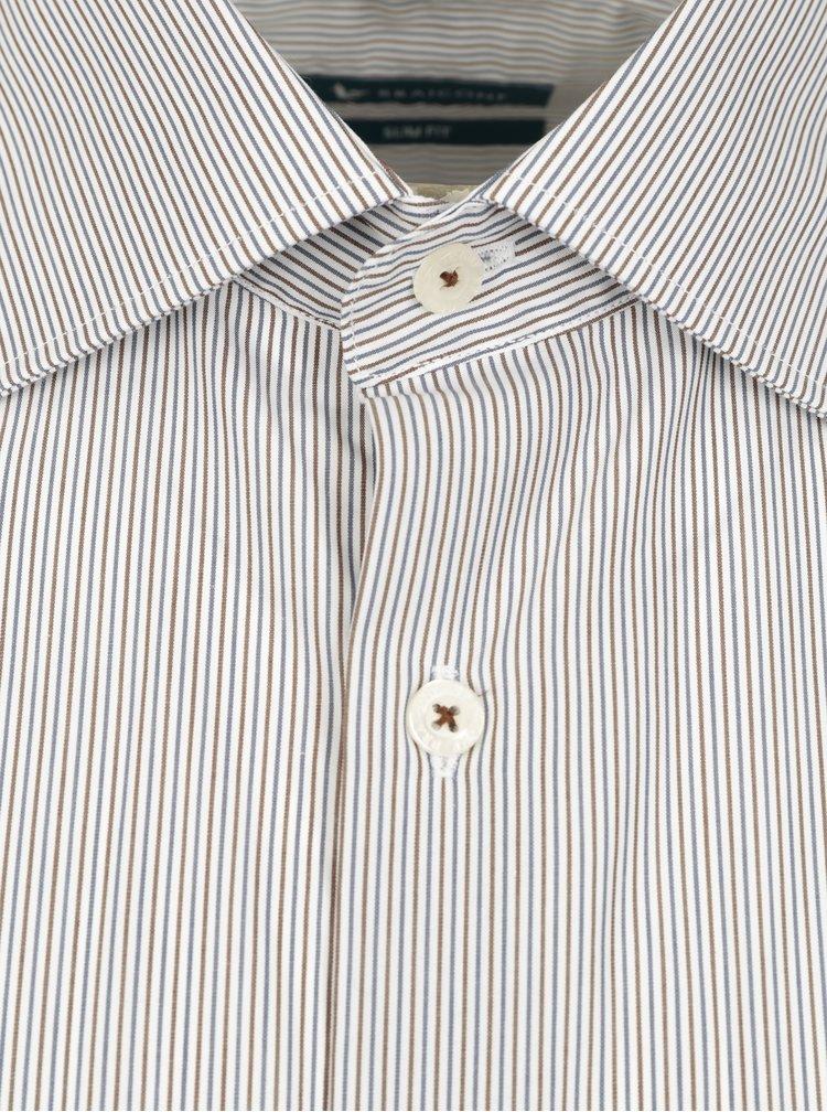 Hnědo-bílá pruhovaná formální slim fit košile Braiconf Flaviu