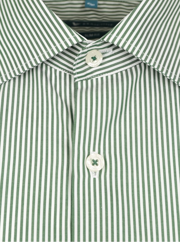 Cămașă slim fit alb&verde în dungi Braiconf Flaviu