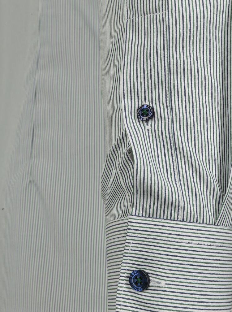 Cămașă albă super slim fit cu dungi verzi&albastre Braiconf Flaviu