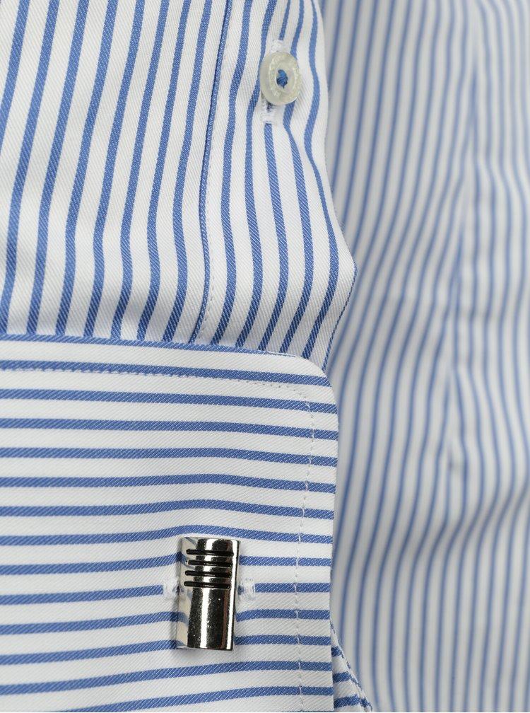 Camasa cu dungi discrete din bumbac alb & albastru - Braiconf Nicu