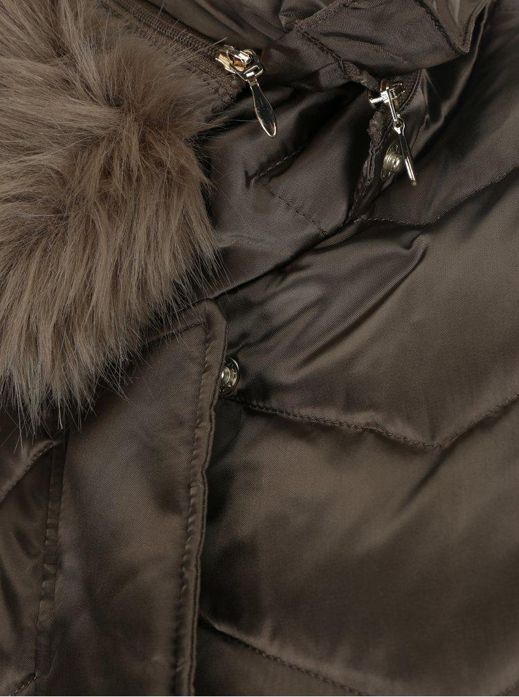 Hnědý dámský prošívaný péřový kabát Geox