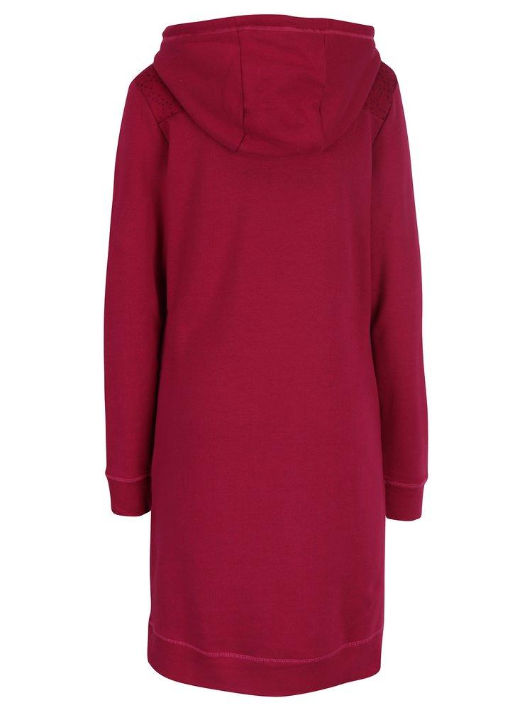 Tmavě růžové mikinové šaty s knoflíky a kapucí Tranquillo Naia