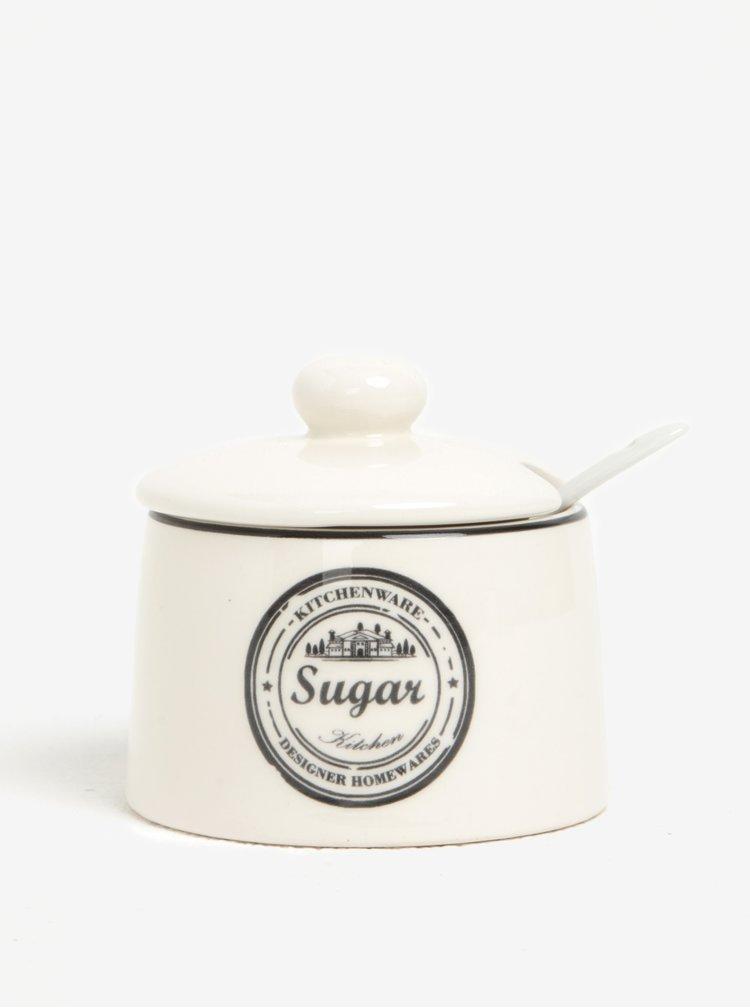 Krémový keramický set dózy na cukr a konvičky na mléko s potiskem Dakls
